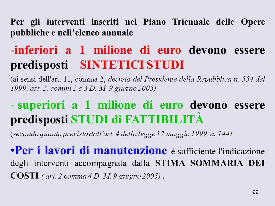 99 Per gli interventi inseriti nel Piano Triennale delle Opere pubbliche e nellelenco annuale -inferiori a 1 milione di euro devono essere predisposti