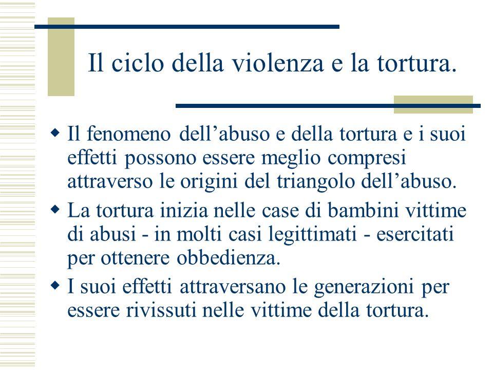 Il ciclo della violenza e la tortura. Il fenomeno dellabuso e della tortura e i suoi effetti possono essere meglio compresi attraverso le origini del