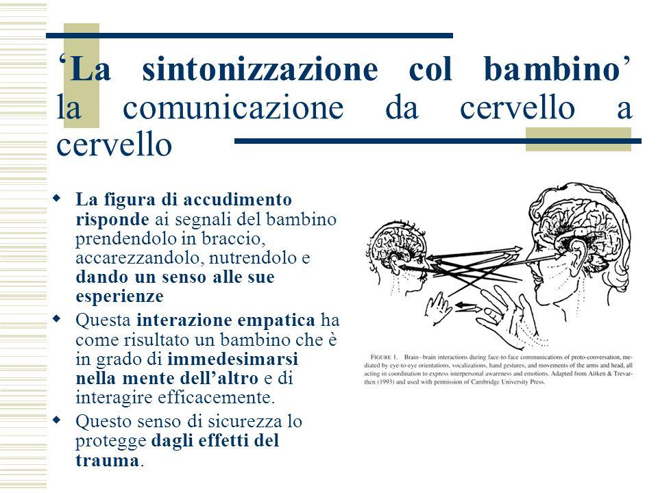 La sintonizzazione col bambino la comunicazione da cervello a cervello La figura di accudimento risponde ai segnali del bambino prendendolo in braccio