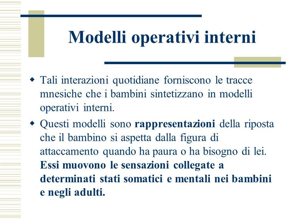 Modelli operativi interni Tali interazioni quotidiane forniscono le tracce mnesiche che i bambini sintetizzano in modelli operativi interni. Questi mo