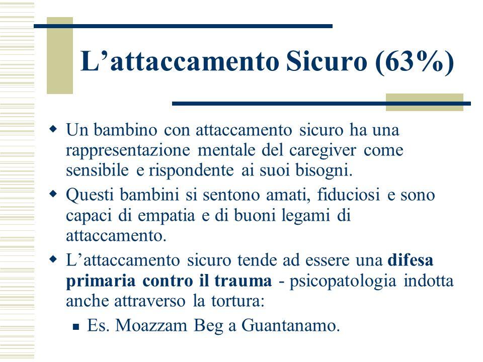 Lattaccamento Sicuro (63%) Un bambino con attaccamento sicuro ha una rappresentazione mentale del caregiver come sensibile e rispondente ai suoi bisog