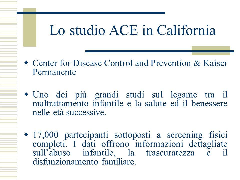 Lo studio ACE in California Center for Disease Control and Prevention & Kaiser Permanente Uno dei più grandi studi sul legame tra il maltrattamento in
