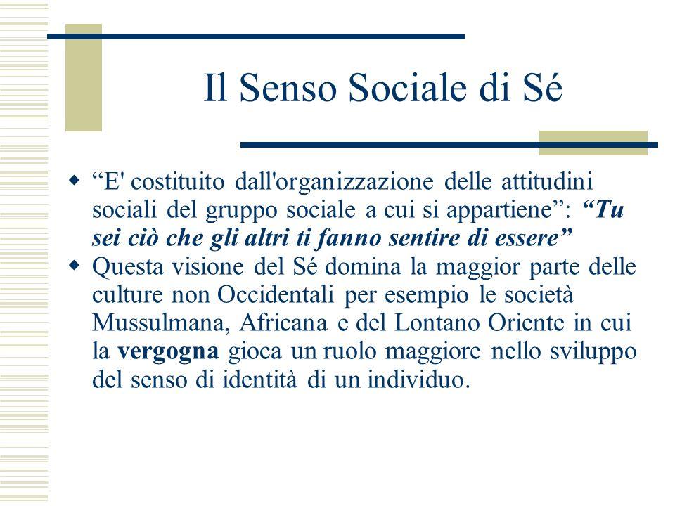 Il Senso Sociale di Sé E' costituito dall'organizzazione delle attitudini sociali del gruppo sociale a cui si appartiene: Tu sei ciò che gli altri ti