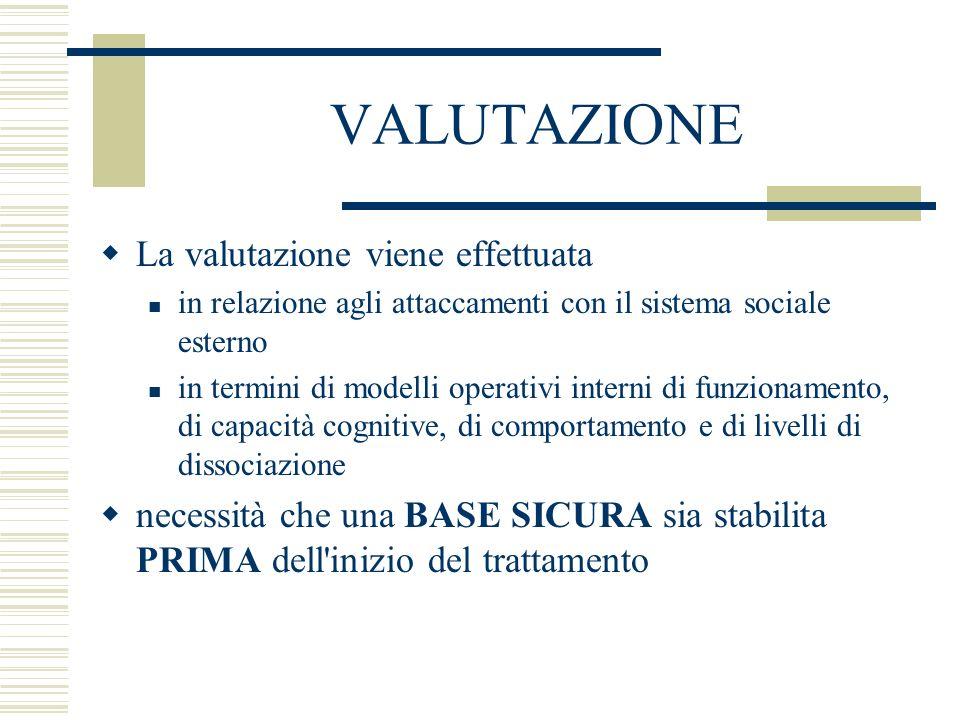 VALUTAZIONE La valutazione viene effettuata in relazione agli attaccamenti con il sistema sociale esterno in termini di modelli operativi interni di f