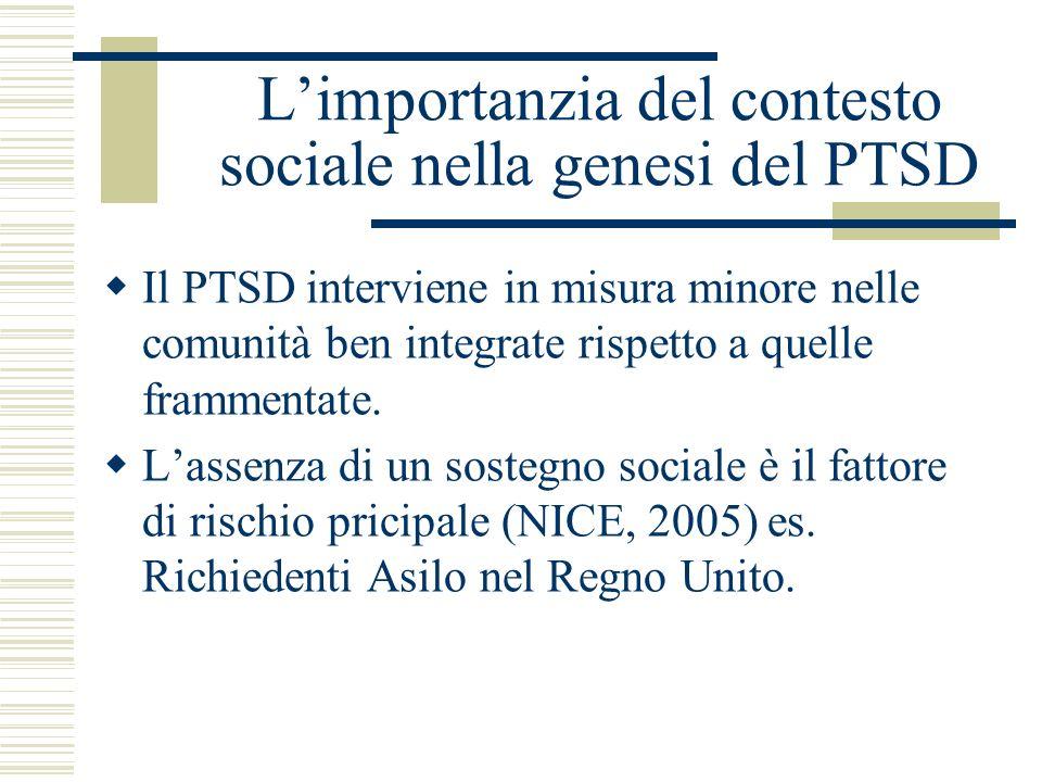 Limportanzia del contesto sociale nella genesi del PTSD Il PTSD interviene in misura minore nelle comunità ben integrate rispetto a quelle frammentate