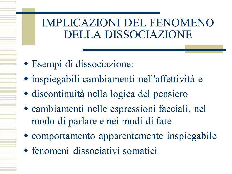 IMPLICAZIONI DEL FENOMENO DELLA DISSOCIAZIONE Esempi di dissociazione: inspiegabili cambiamenti nell'affettività e discontinuità nella logica del pens