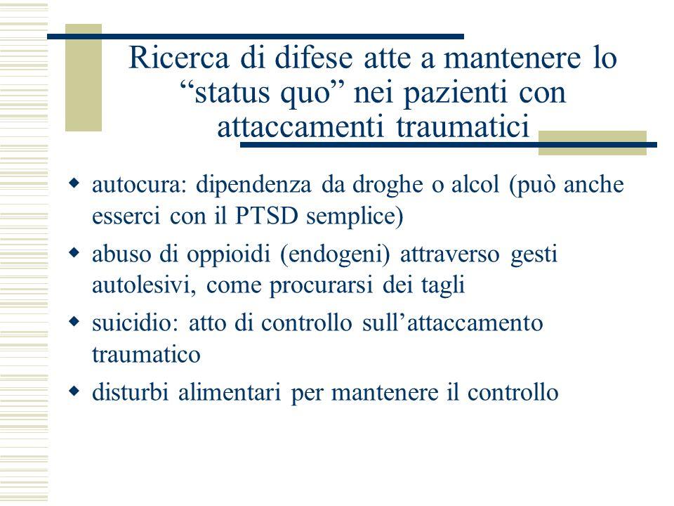 Ricerca di difese atte a mantenere lo status quo nei pazienti con attaccamenti traumatici autocura: dipendenza da droghe o alcol (può anche esserci co