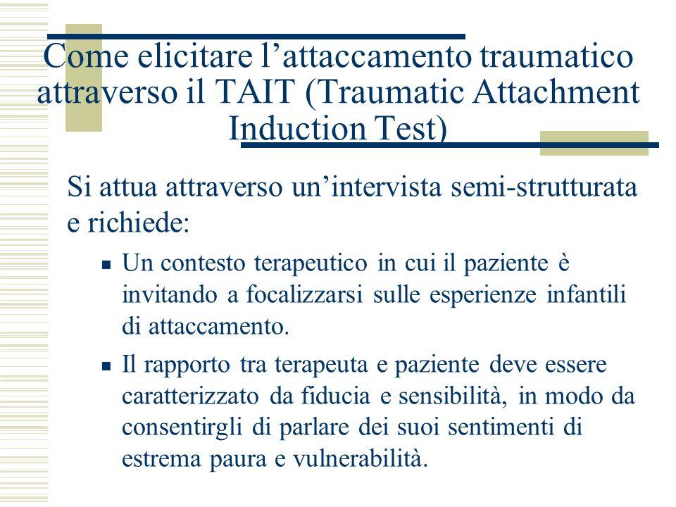Come elicitare lattaccamento traumatico attraverso il TAIT (Traumatic Attachment Induction Test) Si attua attraverso unintervista semi-strutturata e r