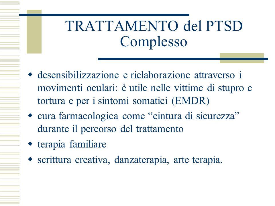 TRATTAMENTO del PTSD Complesso desensibilizzazione e rielaborazione attraverso i movimenti oculari: è utile nelle vittime di stupro e tortura e per i