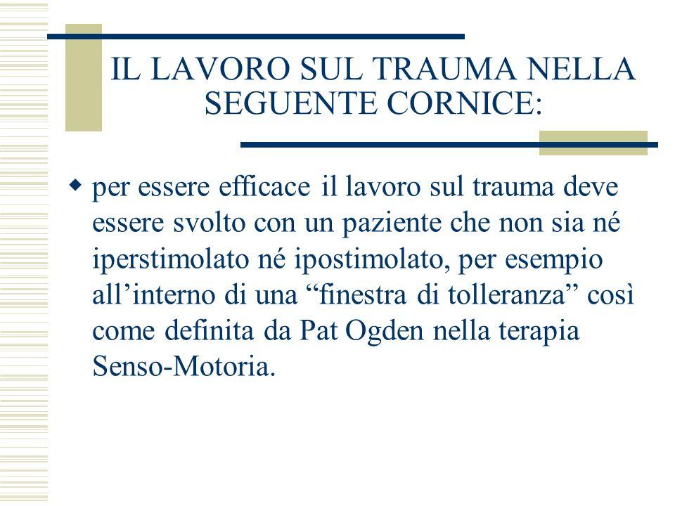 IL LAVORO SUL TRAUMA NELLA SEGUENTE CORNICE: per essere efficace il lavoro sul trauma deve essere svolto con un paziente che non sia né iperstimolato