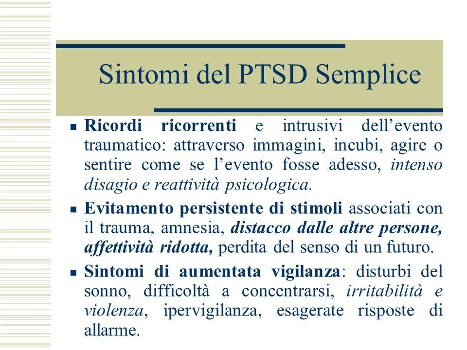 Sintomi del PTSD Semplice Ricordi ricorrenti e intrusivi dellevento traumatico: attraverso immagini, incubi, agire o sentire come se levento fosse ade