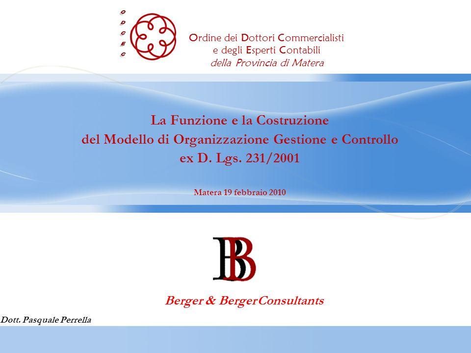 La Funzione e la Costruzione del Modello di Organizzazione Gestione e Controllo ex D. Lgs. 231/2001 Matera 19 febbraio 2010 Dott. Pasquale Perrella Be