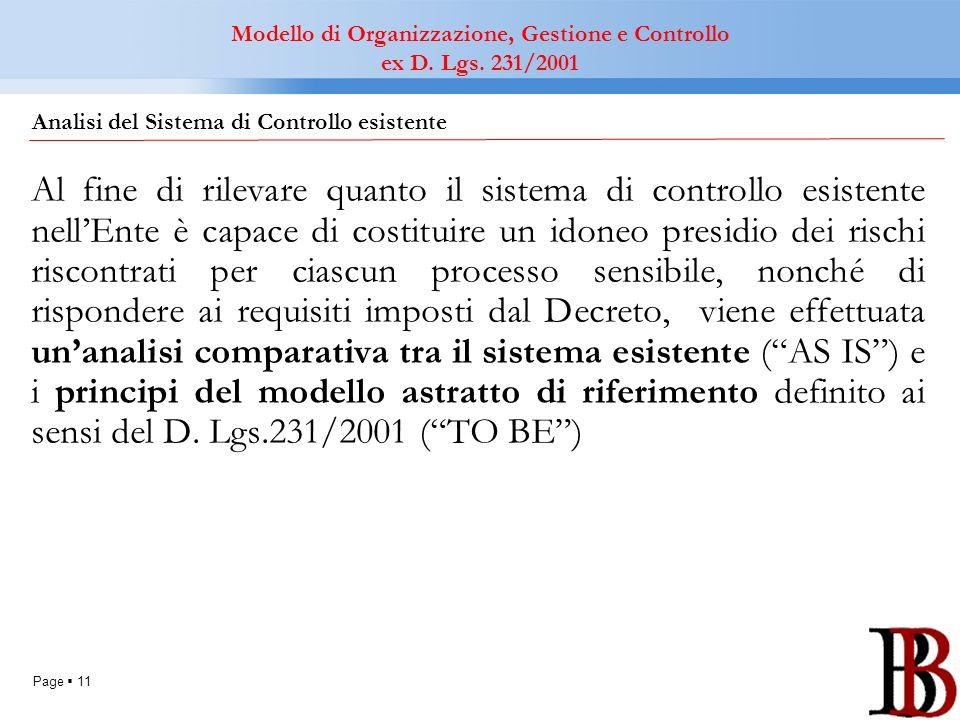 Page 11 Al fine di rilevare quanto il sistema di controllo esistente nellEnte è capace di costituire un idoneo presidio dei rischi riscontrati per cia