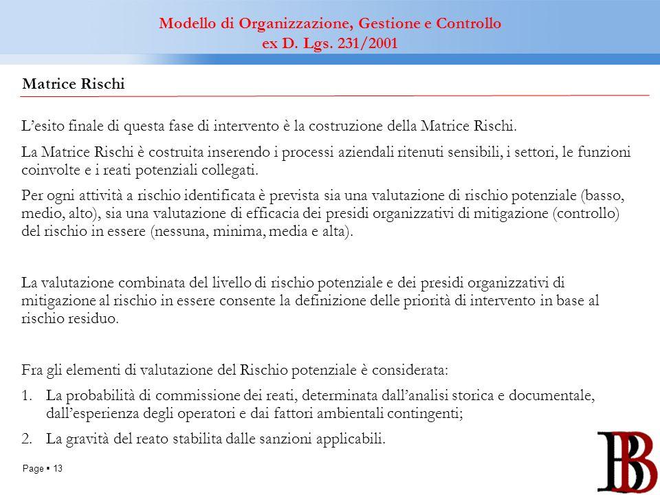 Page 13 Lesito finale di questa fase di intervento è la costruzione della Matrice Rischi. La Matrice Rischi è costruita inserendo i processi aziendali