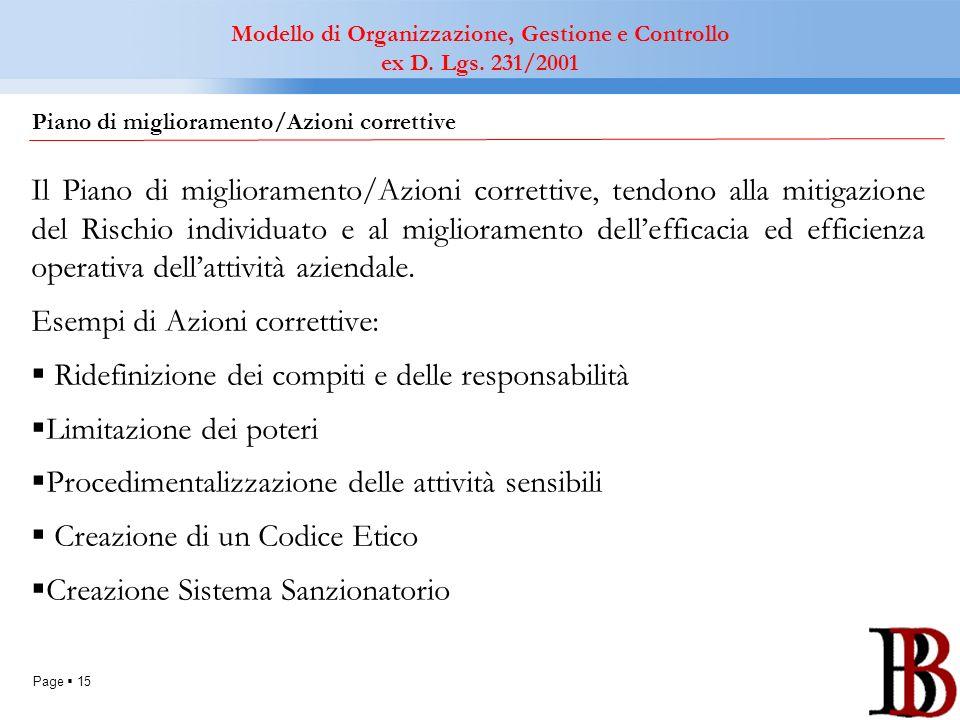 Page 15 Il Piano di miglioramento/Azioni correttive, tendono alla mitigazione del Rischio individuato e al miglioramento dellefficacia ed efficienza o
