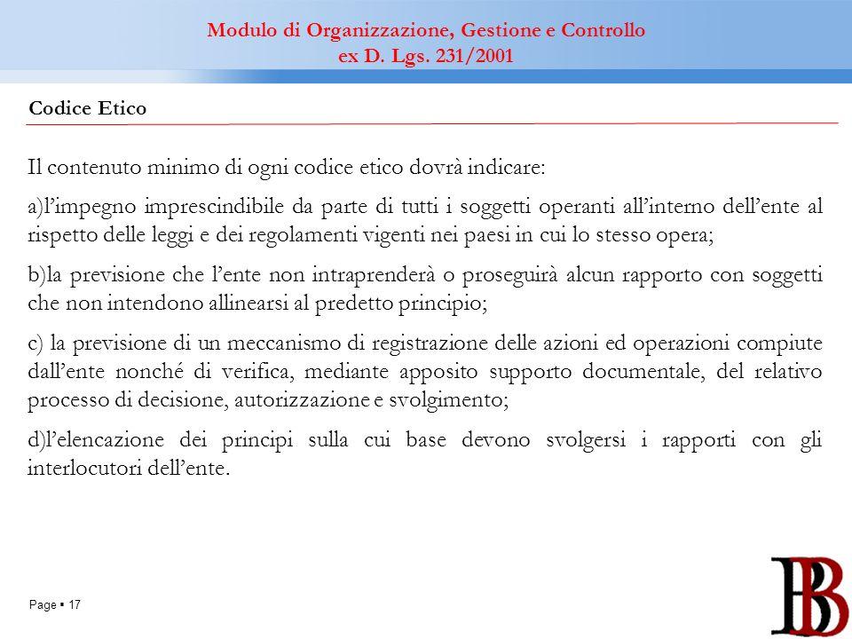 Page 17 Il contenuto minimo di ogni codice etico dovrà indicare: a)limpegno imprescindibile da parte di tutti i soggetti operanti allinterno dellente