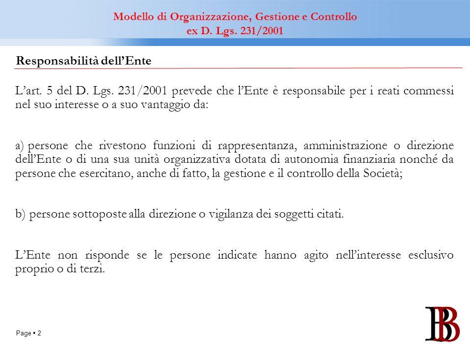 Page 2 Responsabilità dellEnte Lart. 5 del D. Lgs. 231/2001 prevede che lEnte è responsabile per i reati commessi nel suo interesse o a suo vantaggio