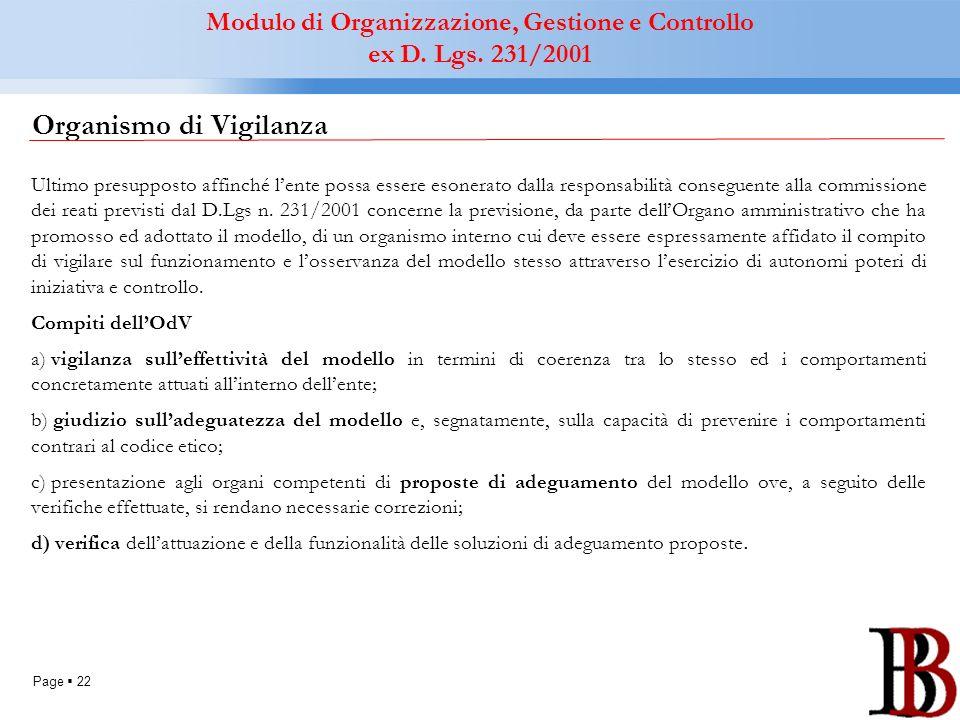 Page 22 Organismo di Vigilanza Ultimo presupposto affinché lente possa essere esonerato dalla responsabilità conseguente alla commissione dei reati pr