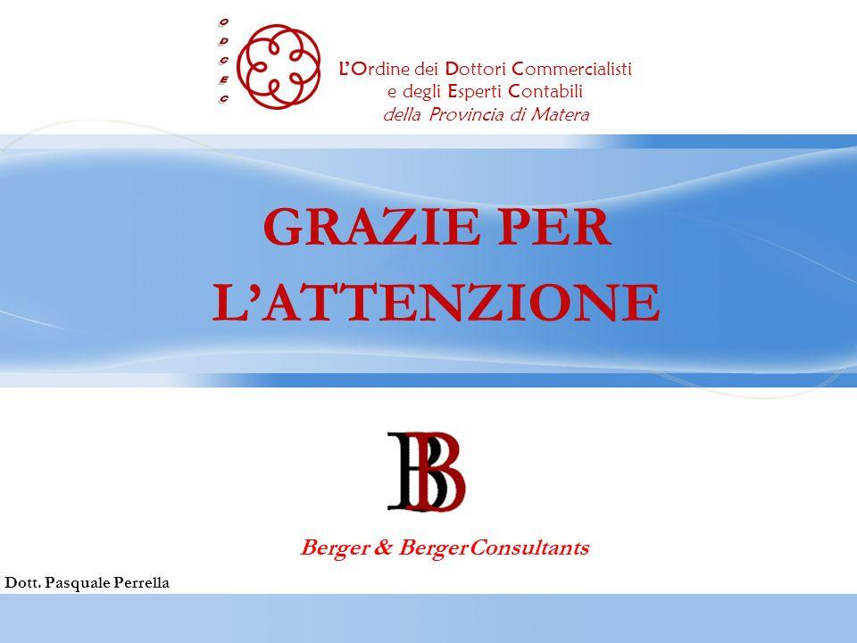 GRAZIE PER LATTENZIONE Dott. Pasquale Perrella Berger & Berger Consultants LOrdine dei Dottori Commercialisti e degli Esperti Contabili della Provinci