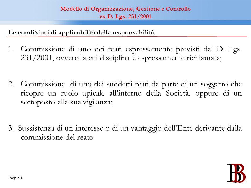 Page 3 Le condizioni di applicabilità della responsabilità 1.Commissione di uno dei reati espressamente previsti dal D. Lgs. 231/2001, ovvero la cui d