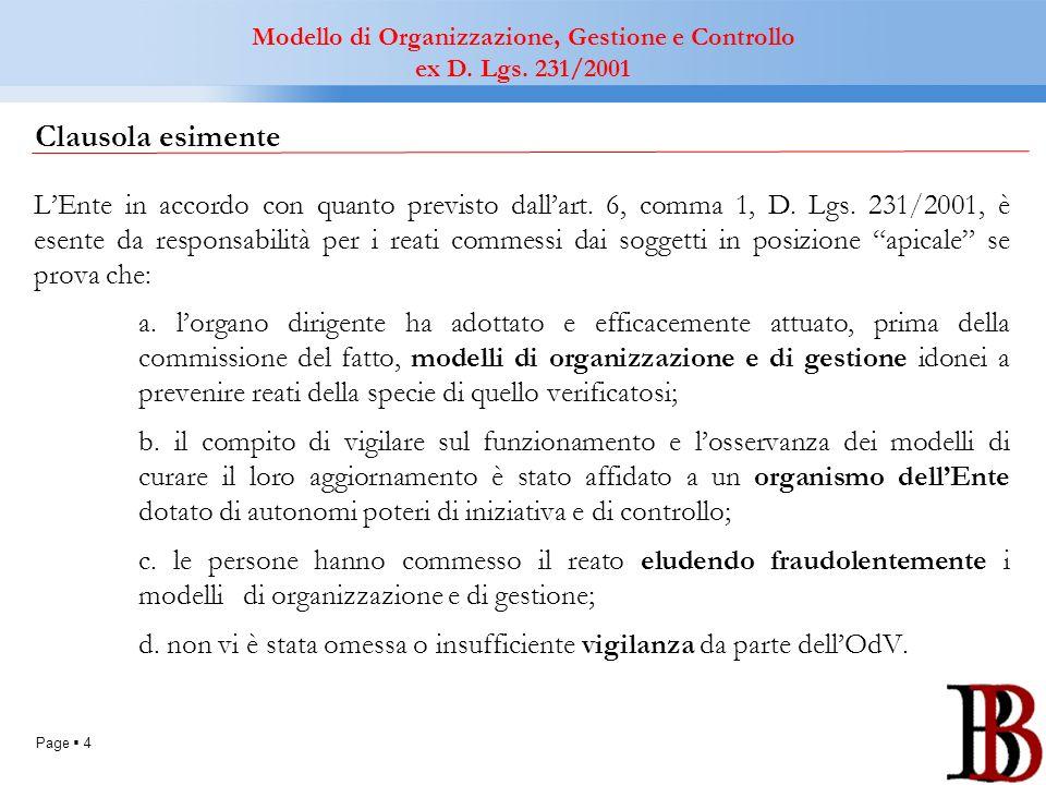 Page 4 Clausola esimente LEnte in accordo con quanto previsto dallart. 6, comma 1, D. Lgs. 231/2001, è esente da responsabilità per i reati commessi d