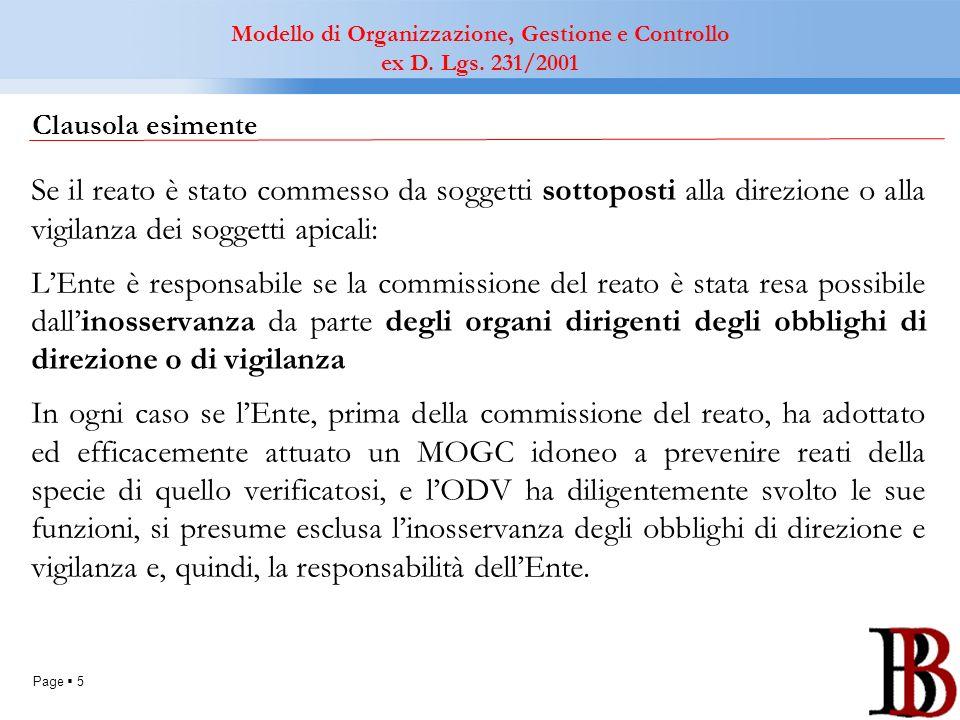 Page 5 Clausola esimente Se il reato è stato commesso da soggetti sottoposti alla direzione o alla vigilanza dei soggetti apicali: LEnte è responsabil