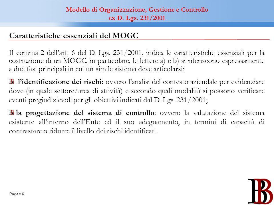 Page 6 Modello di Organizzazione, Gestione e Controllo ex D. Lgs. 231/2001 Caratteristiche essenziali del MOGC Il comma 2 dellart. 6 del D. Lgs. 231/2