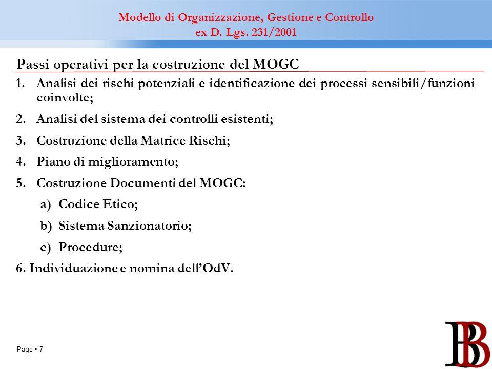 Page 7 Passi operativi per la costruzione del MOGC 1.Analisi dei rischi potenziali e identificazione dei processi sensibili/funzioni coinvolte; 2.Anal