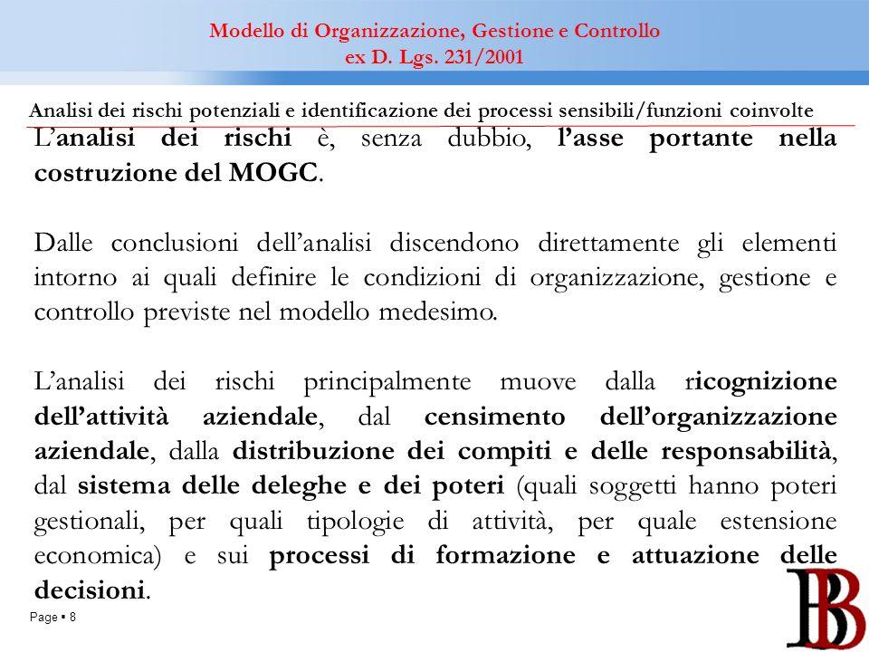 Page 8 Analisi dei rischi potenziali e identificazione dei processi sensibili/funzioni coinvolte Modello di Organizzazione, Gestione e Controllo ex D.