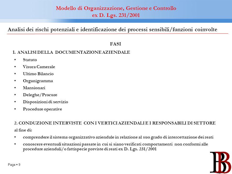 Page 9 FASI 1. ANALISI DELLA DOCUMENTAZIONE AZIENDALE Statuto Visura Camerale Ultimo Bilancio Organigramma Mansionari Deleghe/Procure Disposizioni di