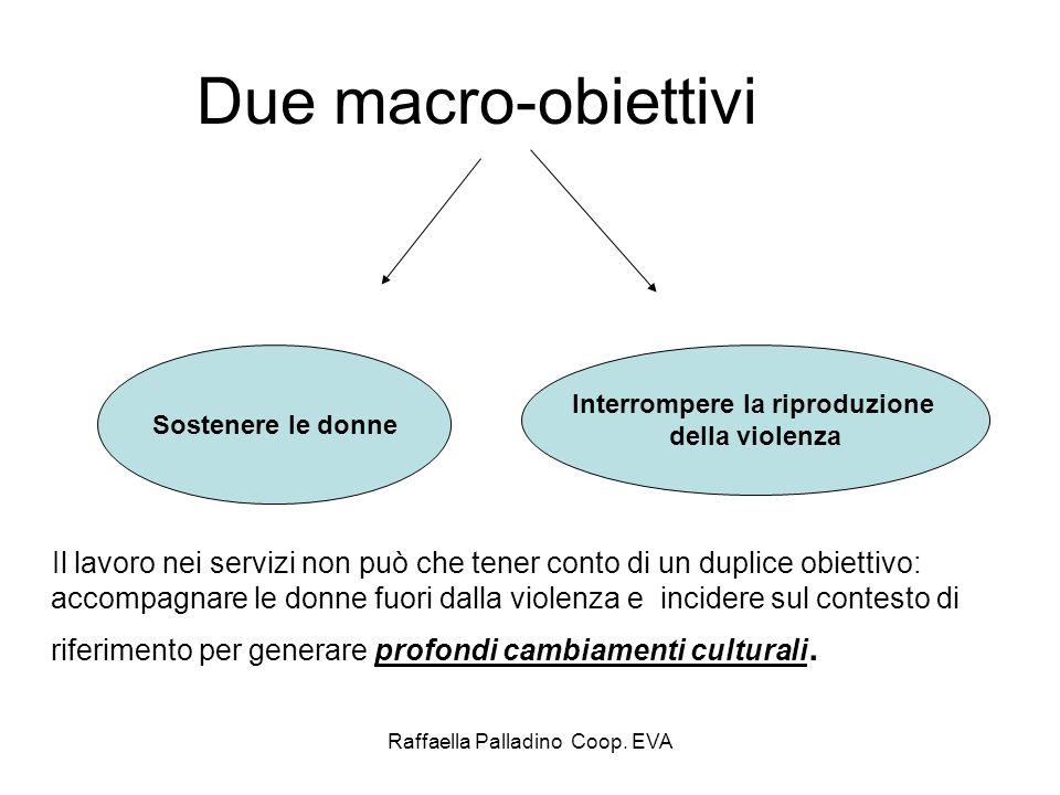 Raffaella Palladino Coop. EVA Due macro-obiettivi Il lavoro nei servizi non può che tener conto di un duplice obiettivo: accompagnare le donne fuori d