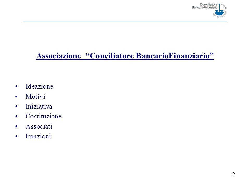 2 Associazione Conciliatore BancarioFinanziario Ideazione Motivi Iniziativa Costituzione Associati Funzioni
