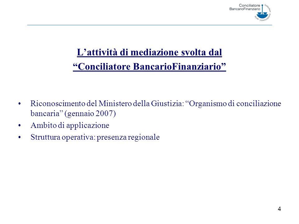 4 Lattività di mediazione svolta dal Conciliatore BancarioFinanziario Riconoscimento del Ministero della Giustizia: Organismo di conciliazione bancaria (gennaio 2007) Ambito di applicazione Struttura operativa: presenza regionale