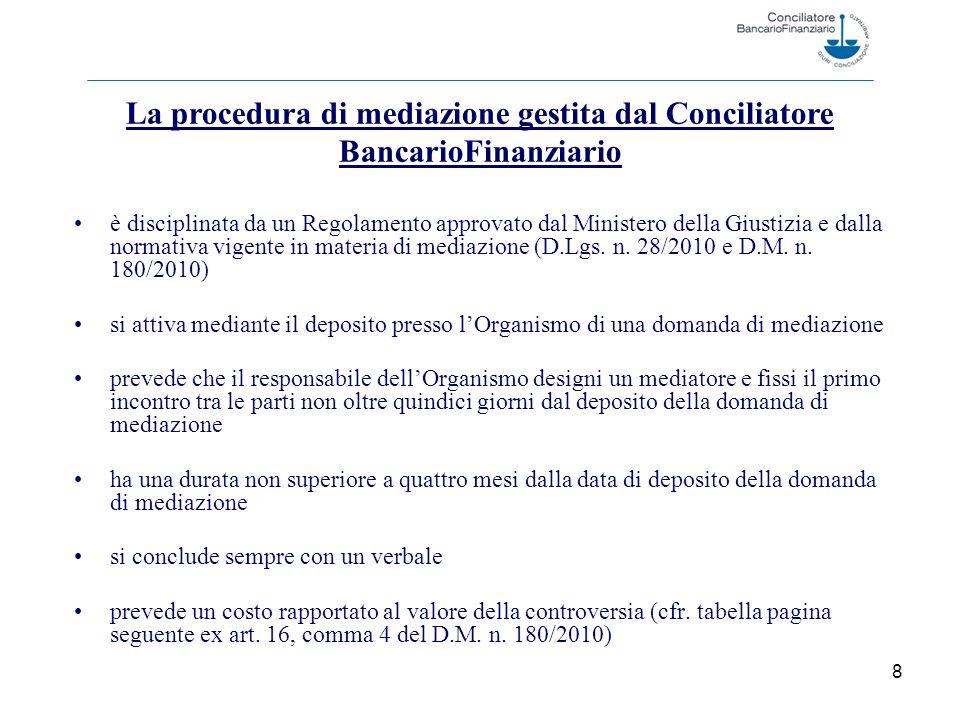 8 è disciplinata da un Regolamento approvato dal Ministero della Giustizia e dalla normativa vigente in materia di mediazione (D.Lgs.