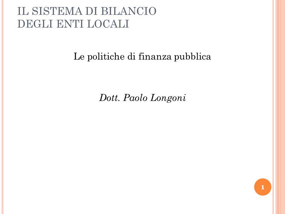 IL SISTEMA DI BILANCIO DEGLI ENTI LOCALI Le politiche di finanza pubblica Dott. Paolo Longoni 1