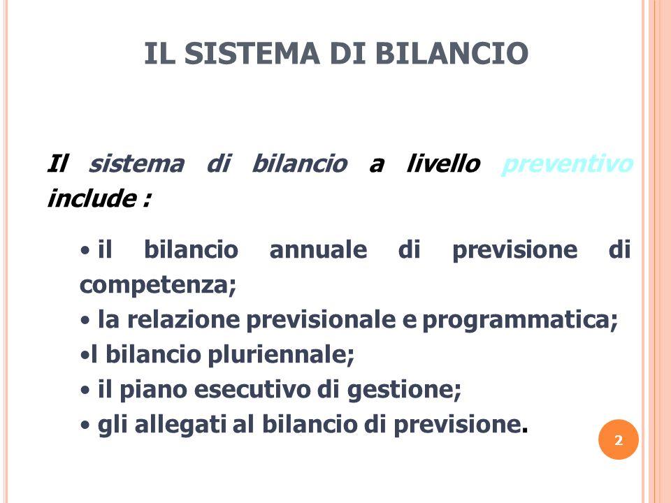 2 IL SISTEMA DI BILANCIO Il sistema di bilancio a livello preventivo include : il bilancio annuale di previsione di competenza; la relazione prevision