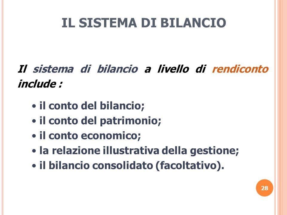 28 IL SISTEMA DI BILANCIO Il sistema di bilancio a livello di rendiconto include : il conto del bilancio; il conto del patrimonio; il conto economico;