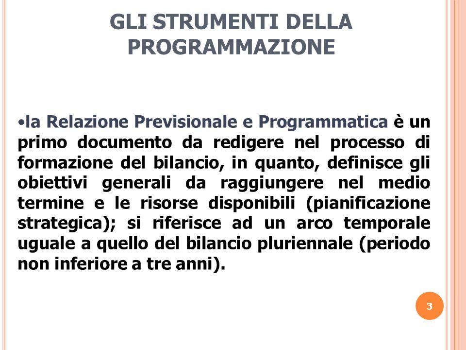 3 GLI STRUMENTI DELLA PROGRAMMAZIONE la Relazione Previsionale e Programmatica è un primo documento da redigere nel processo di formazione del bilanci