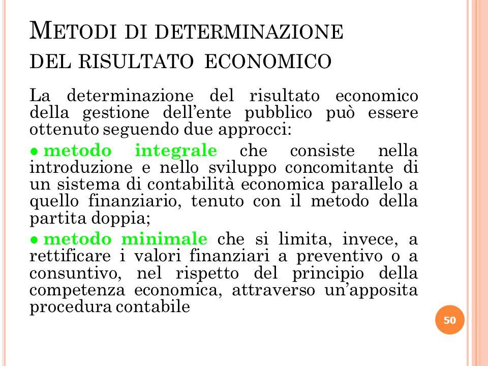 M ETODI DI DETERMINAZIONE DEL RISULTATO ECONOMICO La determinazione del risultato economico della gestione dellente pubblico può essere ottenuto segue