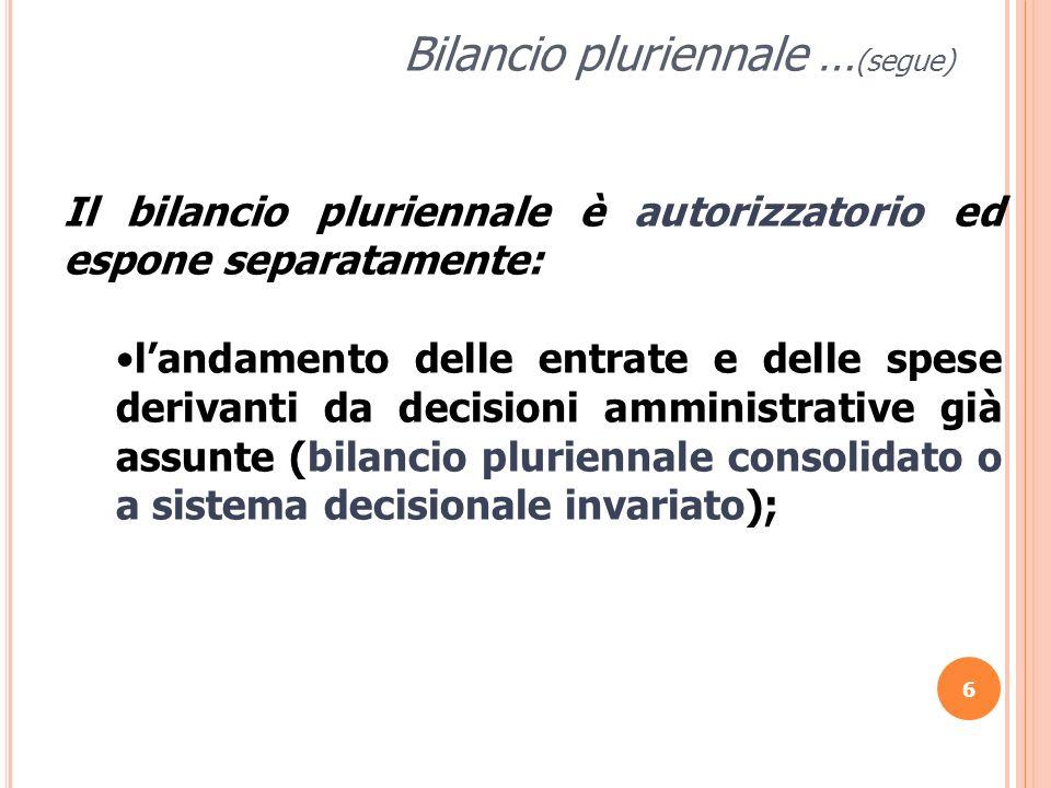 6 Bilancio pluriennale … (segue) Il bilancio pluriennale è autorizzatorio ed espone separatamente: landamento delle entrate e delle spese derivanti da