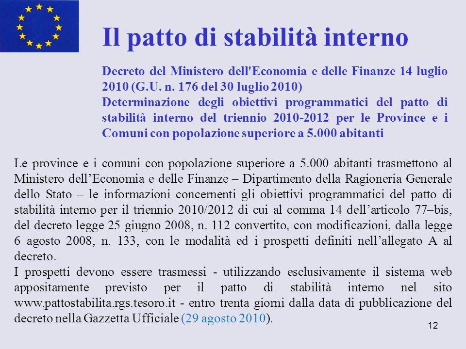 12 Il patto di stabilità interno Decreto del Ministero dell'Economia e delle Finanze 14 luglio 2010 (G.U. n. 176 del 30 luglio 2010) Determinazione de