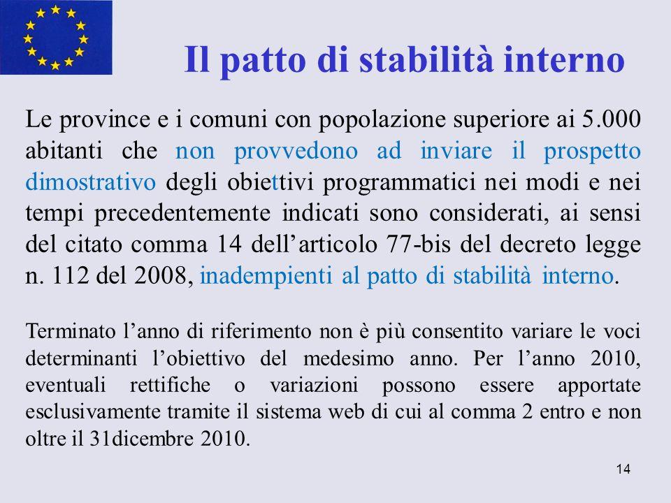 14 Il patto di stabilità interno Le province e i comuni con popolazione superiore ai 5.000 abitanti che non provvedono ad inviare il prospetto dimostr