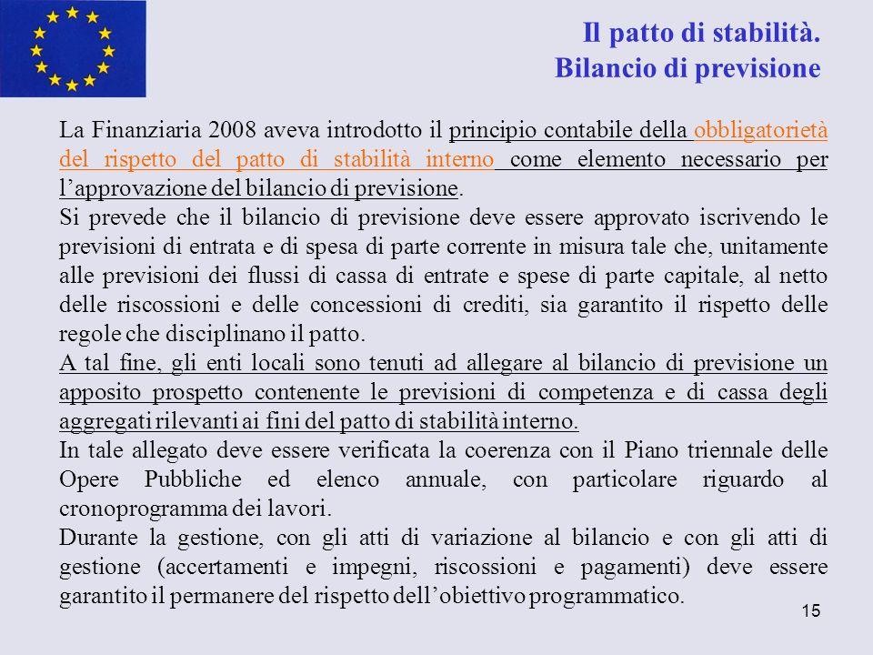 15 La Finanziaria 2008 aveva introdotto il principio contabile della obbligatorietà del rispetto del patto di stabilità interno come elemento necessar