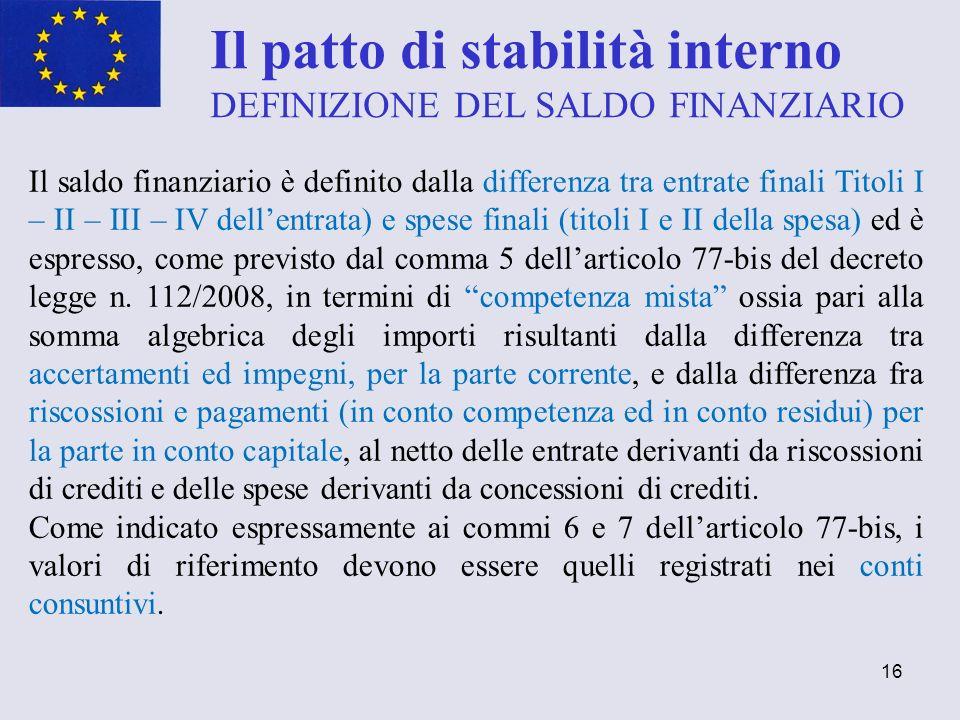 16 Il patto di stabilità interno DEFINIZIONE DEL SALDO FINANZIARIO Il saldo finanziario è definito dalla differenza tra entrate finali Titoli I – II –