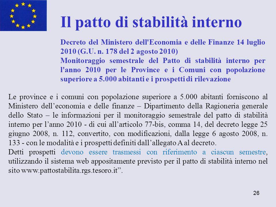 26 Il patto di stabilità interno Decreto del Ministero dell'Economia e delle Finanze 14 luglio 2010 (G.U. n. 178 del 2 agosto 2010) Monitoraggio semes
