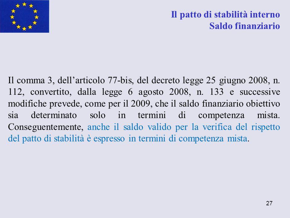27 Il patto di stabilità interno Saldo finanziario Il comma 3, dellarticolo 77-bis, del decreto legge 25 giugno 2008, n. 112, convertito, dalla legge