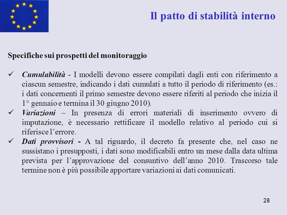 28 Il patto di stabilità interno Specifiche sui prospetti del monitoraggio Cumulabilità - I modelli devono essere compilati dagli enti con riferimento