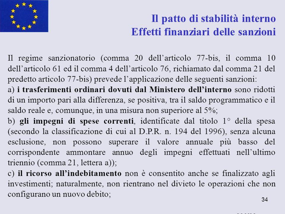 34 Il patto di stabilità interno Effetti finanziari delle sanzioni Il regime sanzionatorio (comma 20 dellarticolo 77-bis, il comma 10 dellarticolo 61