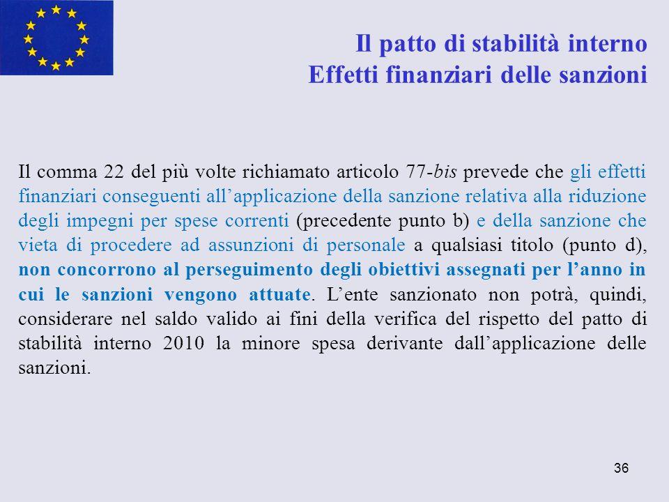 36 Il comma 22 del più volte richiamato articolo 77-bis prevede che gli effetti finanziari conseguenti allapplicazione della sanzione relativa alla ri