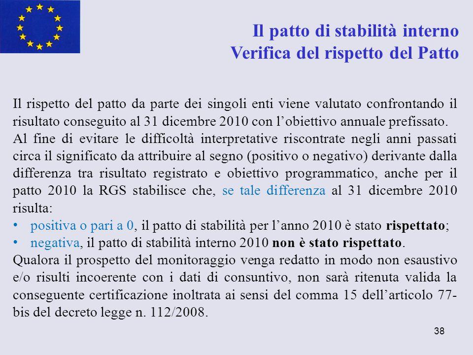 38 Il patto di stabilità interno Verifica del rispetto del Patto Il rispetto del patto da parte dei singoli enti viene valutato confrontando il risult